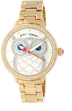Betsey Johnson Women's Who's The Best Owl Crystal Bracelet Watch