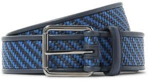 Ermenegildo Zegna 3.5cm Blue Pelle Tessuta Leather Belt