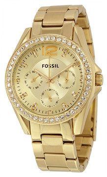 Fossil Riley Multi-Function Champagne Dial Ladies Watch