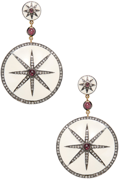 Artisan Women's 18K Gold, Tourmaline & 2.12 Total Ct. Diamond Star Burst Enamel Earrings