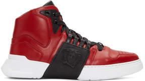 Versace Red Medusa High-Top Sneakers