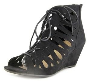 Material Girl Tharlie Women Open Toe Synthetic Black Wedge Heel.