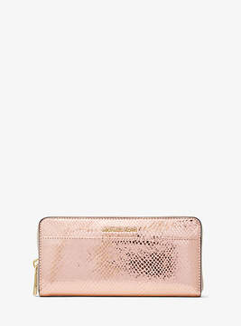 Michael Kors Jet Set Metallic Embossed-Leather Continental Wallet - PINK - STYLE