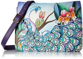 Anuschka Anna by Women's Genuine Leather Small Flap-Over Handbag | Cross-Body Organizer |Midnight Peacock