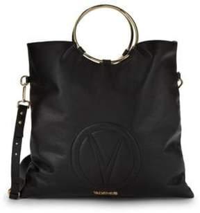 Mario Valentino Logo Leather Top Handle Bag