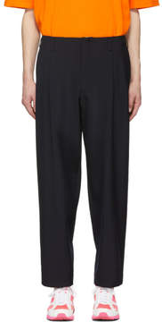 Comme des Garcons Navy Tropical Wool Pleated Trousers