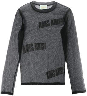 Aries logo tulle long sleeve top