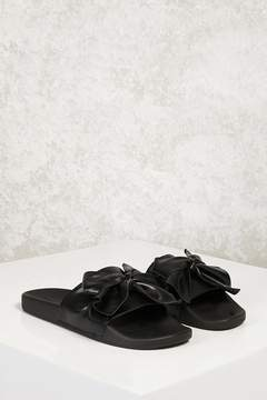 Forever 21 Faux Leather Bow Slide Sandals