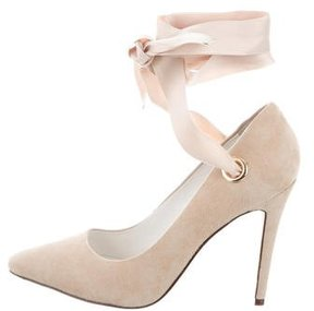 Alice + Olivia Suede Pointed-Toe Pumps