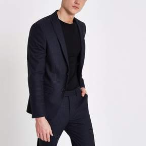 River Island Mens Blue check skinny fit suit jacket