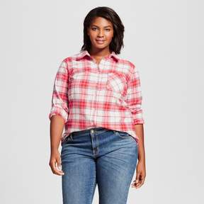 Ava & Viv Women's Plus Size Flannel Button Down Shirt Red Plaid with Shine