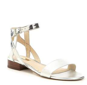 Louise et Cie Akella Metallic Ankle Strap Block Heel Sandals