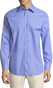 Luciano Barbera Men's Plaid Cotton Sportshirt