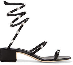 Rene Caovilla Crystal And Faux Pearl-embellished Nubuck Sandals - Black