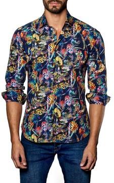 Jared Lang Men's Trim Fit Print Sport Shirt