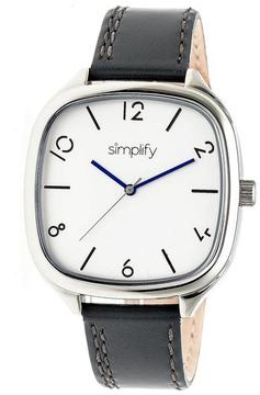 Simplify The 3500 Collection SIM3502 Square-Shaped Silver Analog Watch