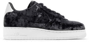 Nike Air Force 1 Metallic Faux Leather-trimmed Crushed-velvet Sneakers - Anthracite