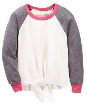 Vintage Havana Colorblock Tie Front Sweatshirt (Big Girls)