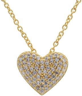 Crislu 18K Gold Plated Sterling Silver CZ Pave Heart Pendant Necklace