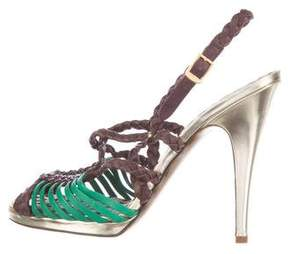 Roberto Cavalli Multistrap Leather Sandals