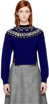 Fendi Blue Alpine MCMXXV High-Low Sweater