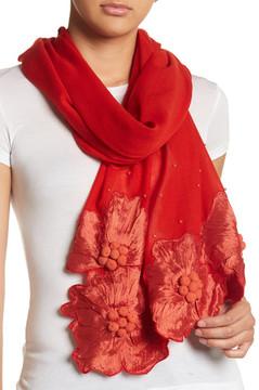 Saachi Floral Border Wool Wrap