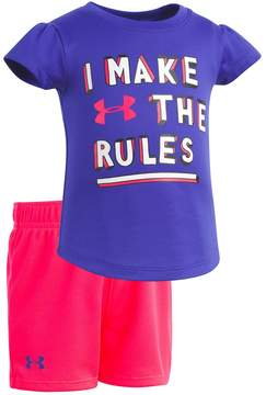 Under Armour Baby Girl I Make The Rules Graphic Tee & Shorts Set
