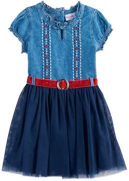 Nannette Girls 4-6x Belted Denim & Tulle Dress