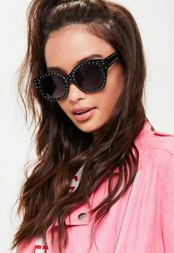 Missguided Black Oval Frame Sunglasses
