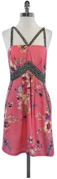 Yoana Baraschi Pink Floral Silk Sleeveless Dress