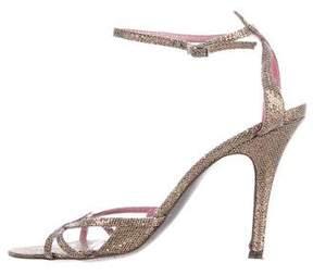 Jean-Michel Cazabat Glitter-Embellished Ankle-Strap Sandals