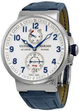 Ulysse Nardin Marine Automatic Chronometer White Dial Blue Leather Men's Watch 1183-126-60