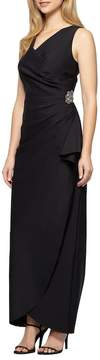 Alex Evenings Embellished Side Drape Column Gown (Petite)