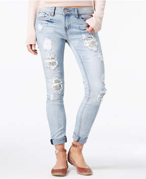 Dollhouse Juniors' Ripped Sequin-Patch Skinny Jeans