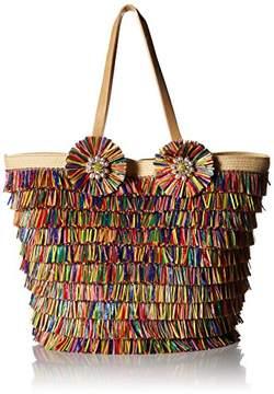 Betsey Johnson Tiki TIME Colored Raffia Tote Shoulder Bag