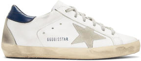 Golden Goose Deluxe Brand White and Navy Superstar Sneakers