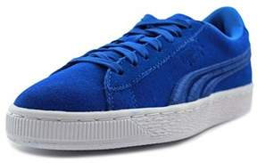 Puma Suede Classic Badge Jr Youth Round Toe Suede Blue Sneakers.