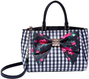 Betsey Johnson GINGHAM STYLE BOW SATCHEL
