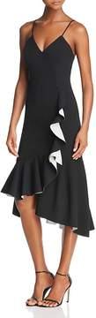 Bardot Asymmetric Ruffled Midi Dress