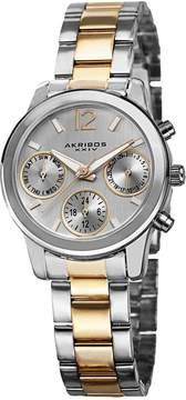 Akribos XXIV Ultimate Multi-Function Silver Dial Two-tone Ladies Watch