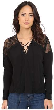 Brigitte Bailey Adley Front Tie Top with Lace Detail Women's Clothing