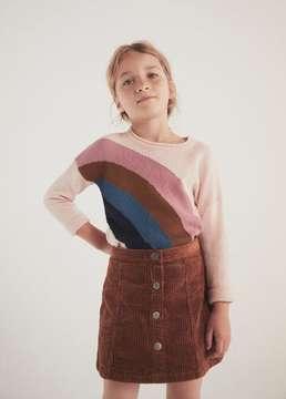 MANGO Buttoned corduroy skirt