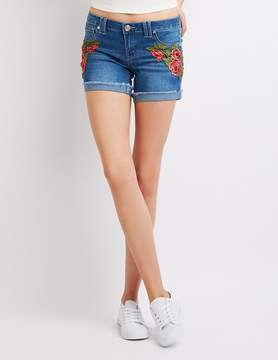 Charlotte Russe Floral Embroidered Cuffed Denim Shorts