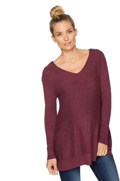 A Pea in the Pod Long Sleeve Button Detail Maternity Sweater- Grape