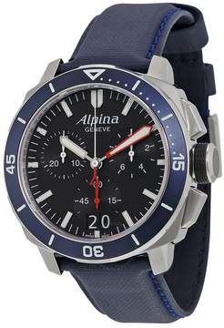 Alpina Seastrong Diver 300 Big Date Chronograph Black Dial Navy Leather Men's Watch