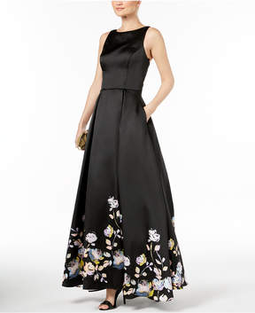 Betsy & Adam Lace-Up Satin Gown