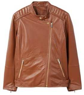 Violeta BY MANGO Quilted panel leather jacket