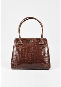Lambertson Truex Pre-owned Brown Crocodile Leather Shoulder Bag.