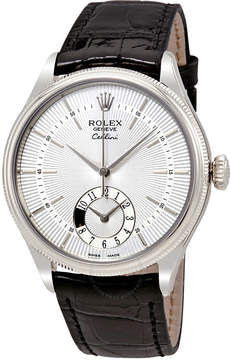 Rolex Cellini Dual Time Silver Dial 18K White Gold Men's Watch