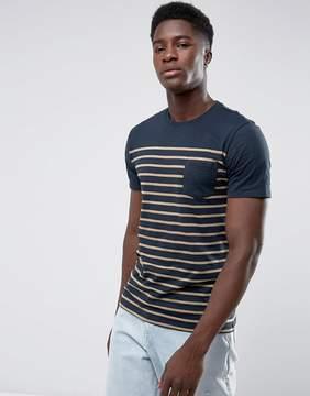 MANGO Man Striped T-Shirt In Navy And Orange